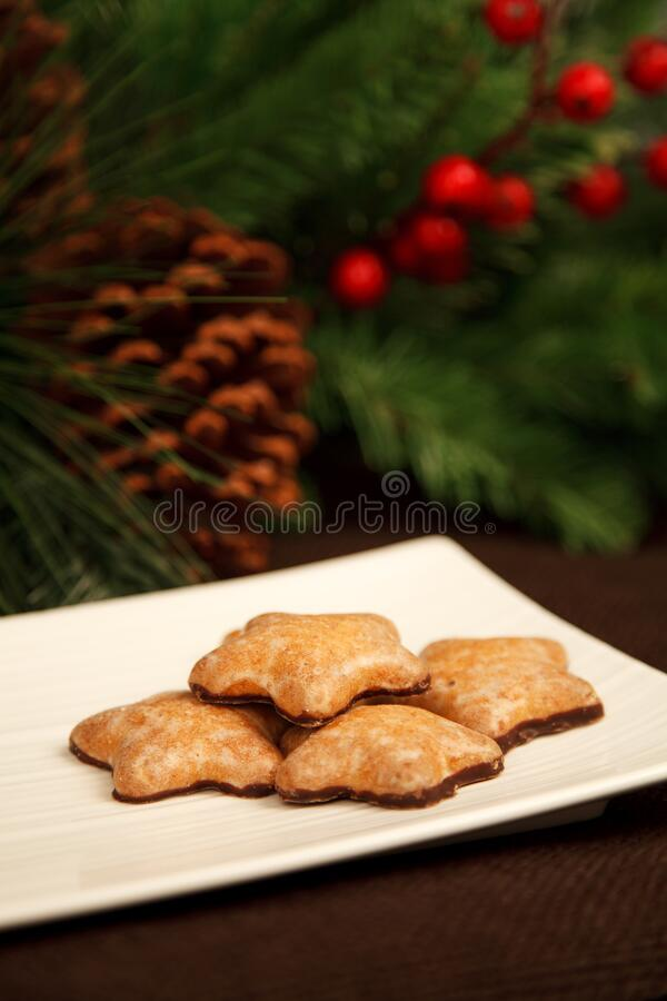 Brown Plate With Star Cookies With Chocolate Free Public Domain Cc0 Image
