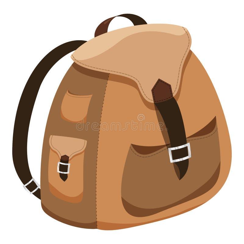 Brown plecaka kreskówki projekt odizolowywał ikona wektoru ilustrację royalty ilustracja