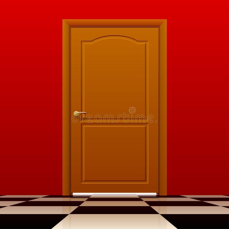 Brown a porta chiusa con la parete rossa ed il pavimento lucido di scacchi illustrazione di stock
