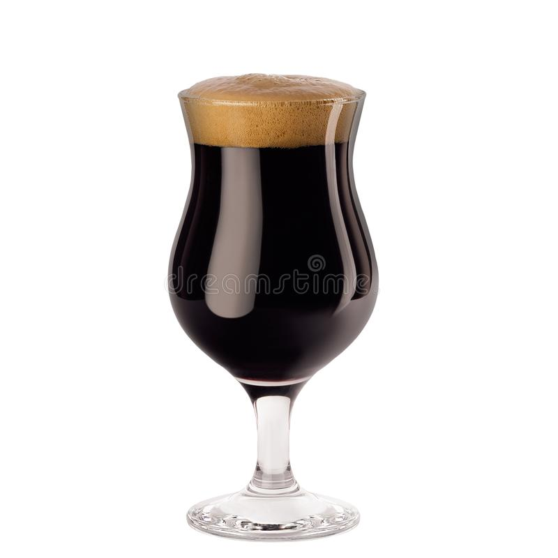 Brown porter beer in wineglass with foam isolated on white background. stock image
