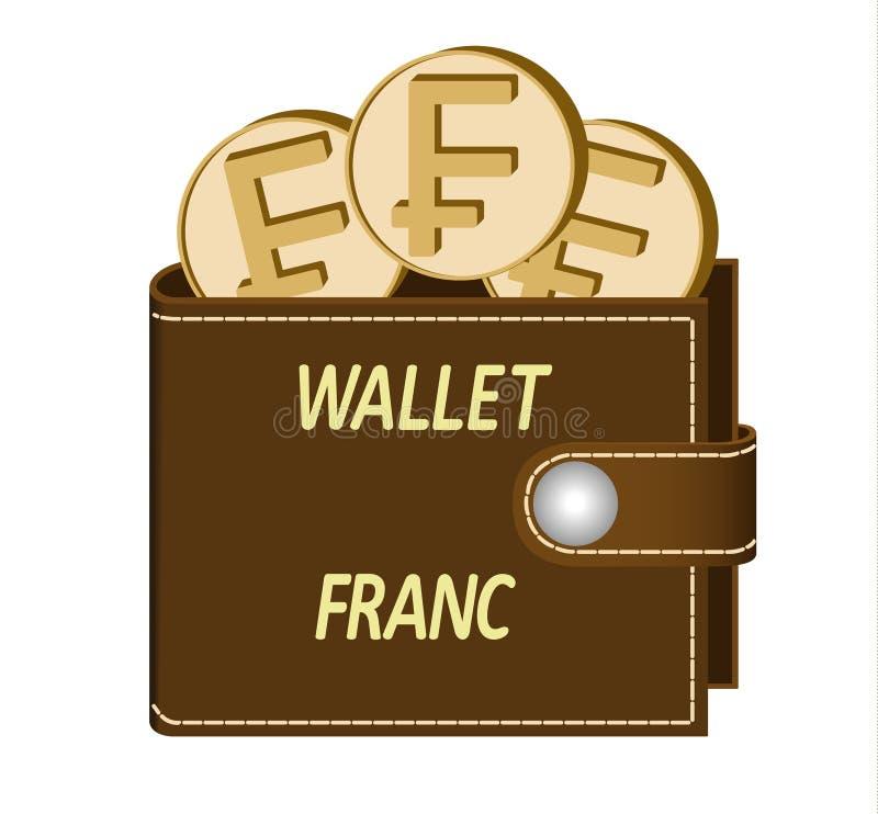 Brown portfel z frank monetami royalty ilustracja