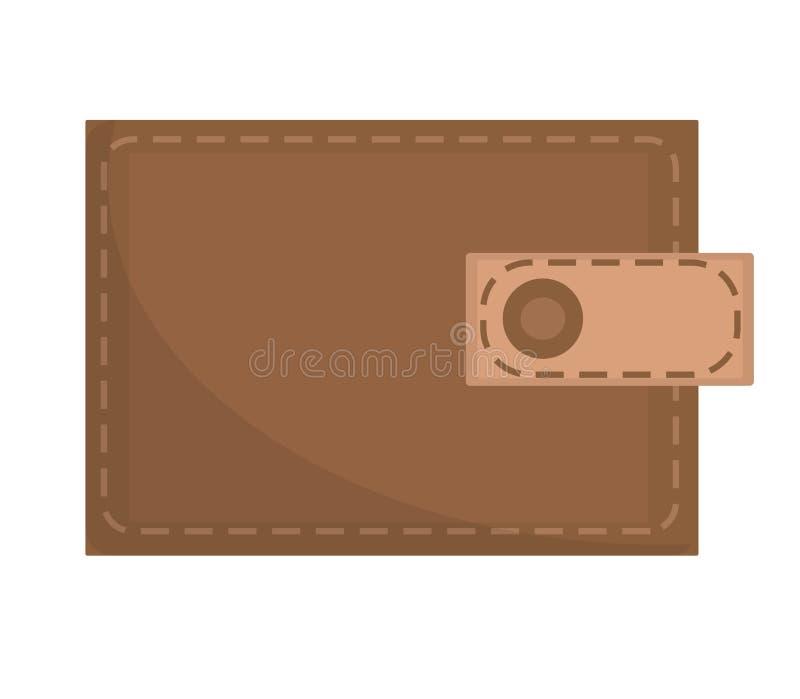 Brown portfla ikona, płaski projekt pojedynczy białe tło Wektorowa ilustracja, klamerki sztuka royalty ilustracja