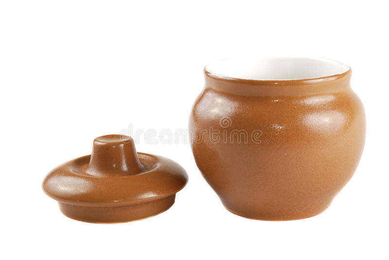 Brown pot. For cooking with a cover royalty free stock photos
