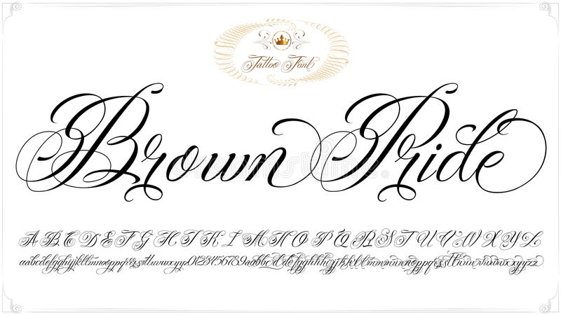 Download Brown Pride Tattoo Lettering Stock Vector