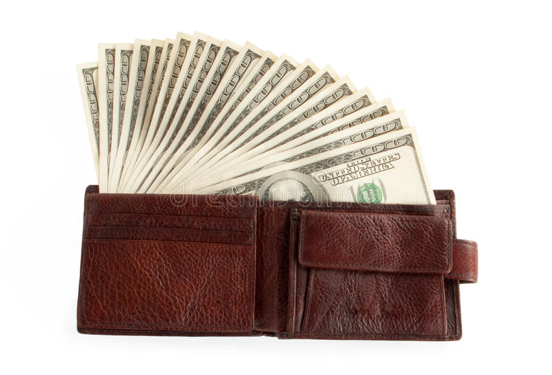 Download Brown purse with dollars stock photo. Image of sale, concept - 23433708