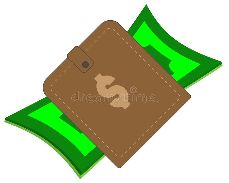 Brown purse with paper cash and coins stock image
