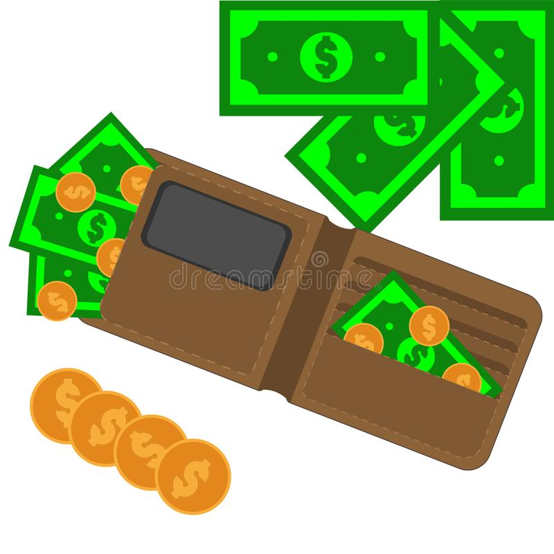 Brown purse with paper cash and coins royalty free stock images
