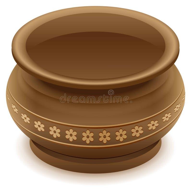 Brown pusty gliniany ceramiczny garnek royalty ilustracja