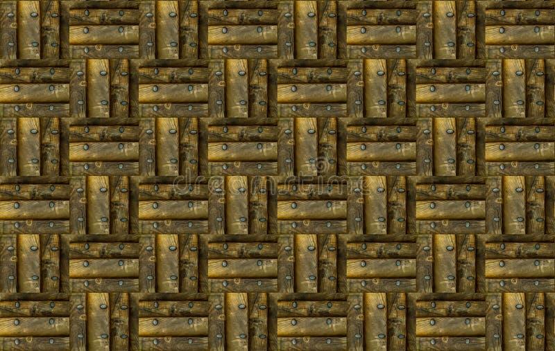 Brown quadra il pannello di legno di struttura del modello con il lerciume di ordine di scacchi del blocchetto del ribattino del  immagini stock