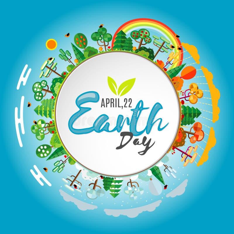 brown räknad dagjord som miljölövverk går den gående gröna treen för text för slogan för ordstäv för kramnaturuttryck Eco vänligt royaltyfri illustrationer