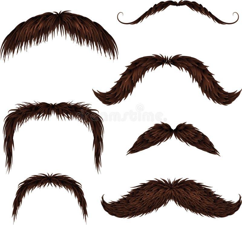 Brown różnego stylu odosobneni wąsy ustawiający ilustracja wektor