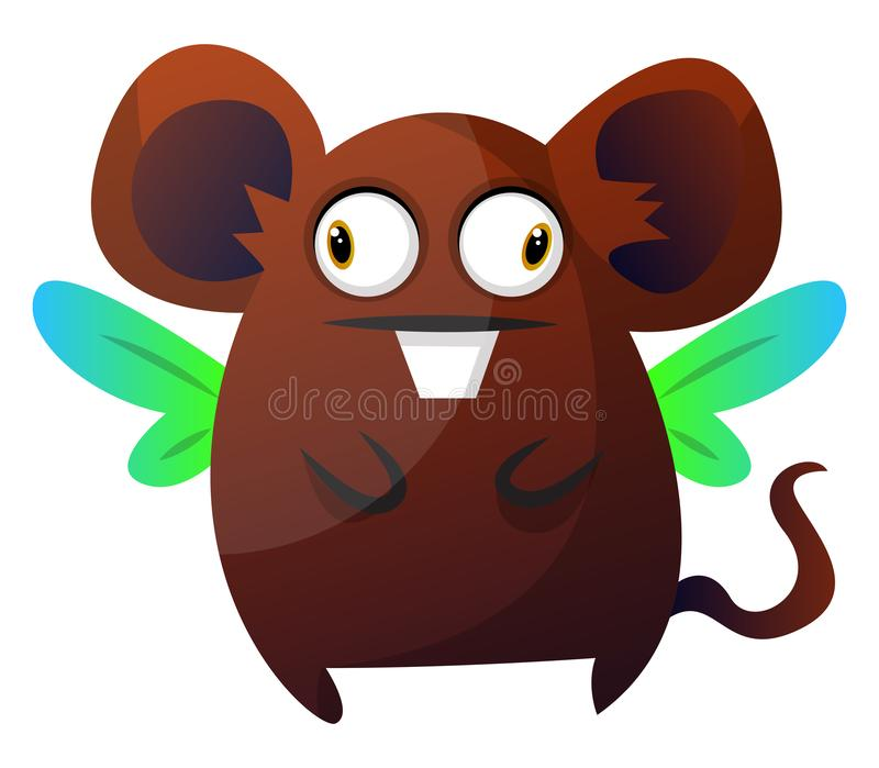 Brown rat monster with wings illustration vector on white backgroundPrint vector illustration