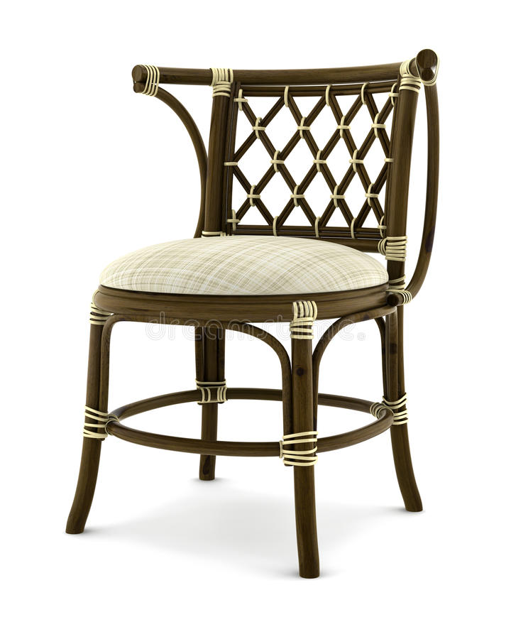 Brown rattan chair isolated on white