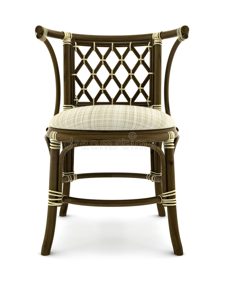 Brown Rattan Chair Isolated On White Royalty Free Stock Photography
