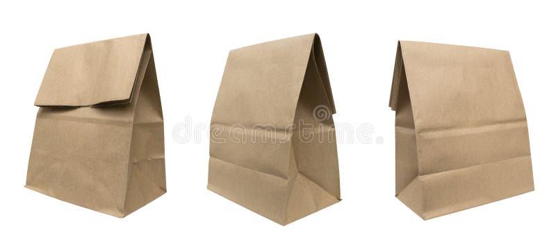Brown recicló el sistema de la bolsa de papel aislado en el fondo blanco, clipp imagenes de archivo