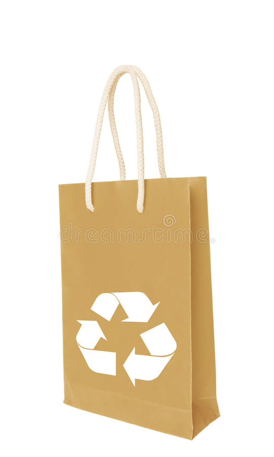 Brown recycle paper shopping bag. Over white floor royalty free stock image