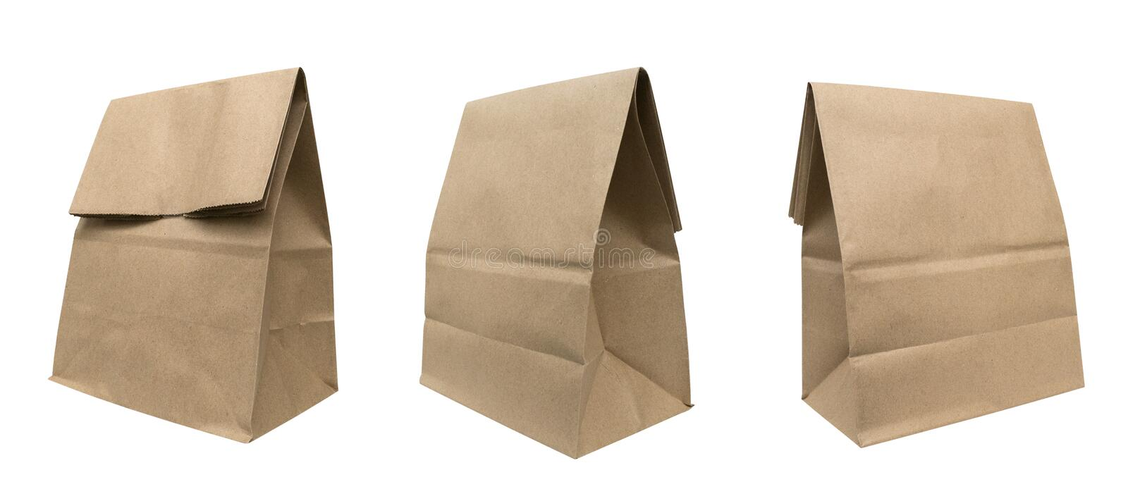 Brown recycled paper bag set isolated on white background, clipping path included stock images