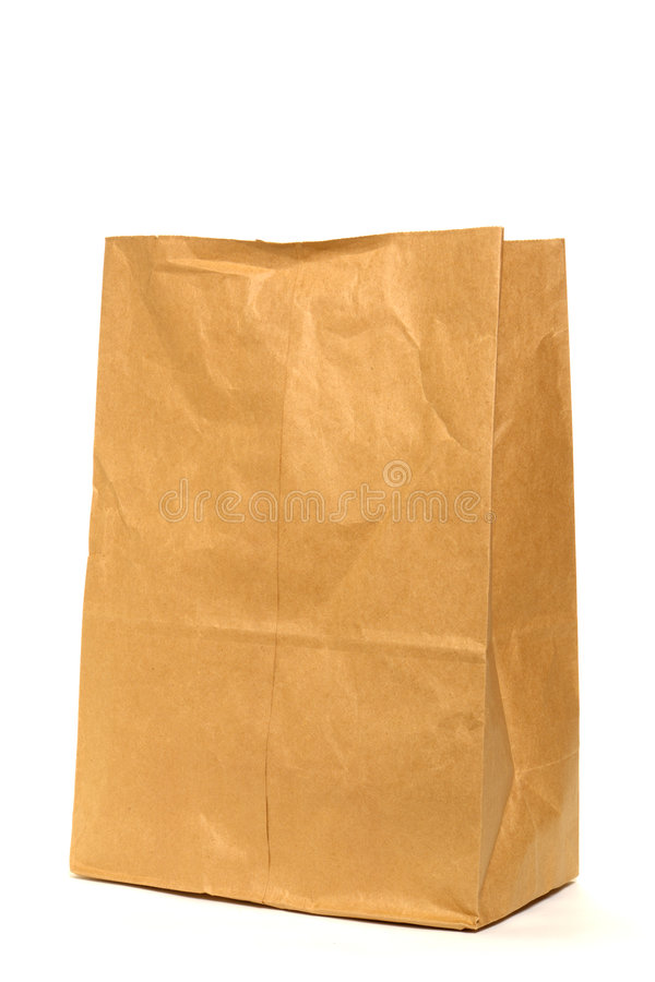 Brown Recycled Paper Grocery Bag Over White Stock Photo