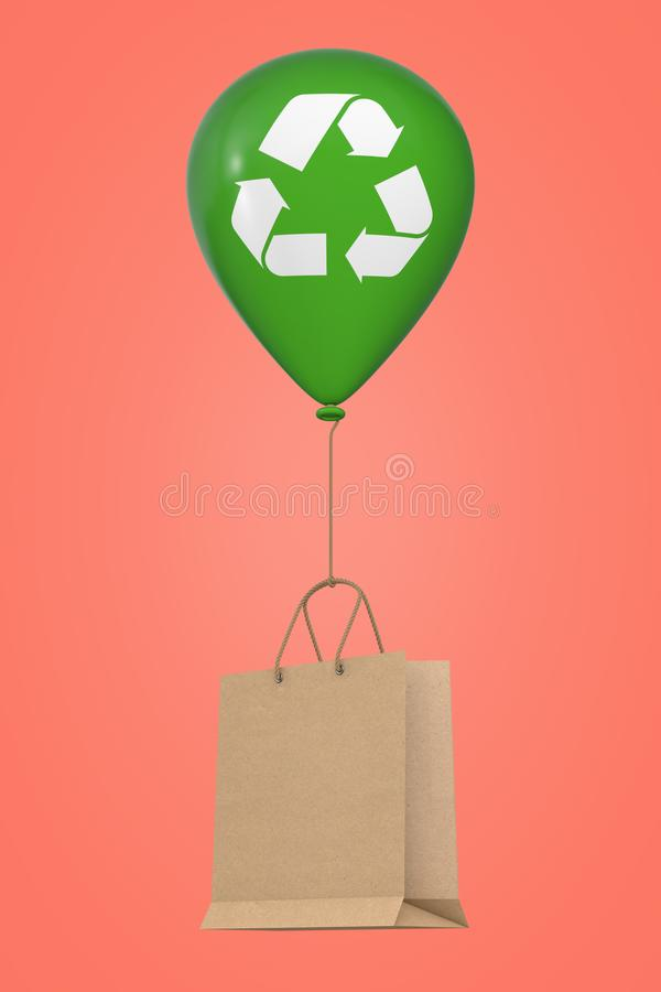 Brown Recycled Paper Shopping Bag Floating with Green Hellium Balloon with Recycle Sign. 3d Rendering royalty free illustration