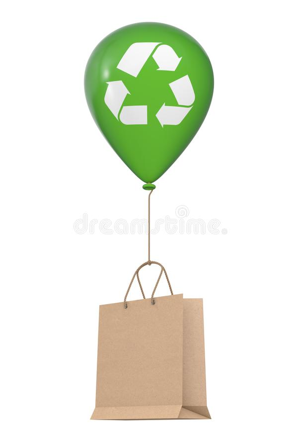 Brown Recycled Paper Shopping Bag Floating with Green Hellium Balloon with Recycle Sign. 3d Rendering vector illustration