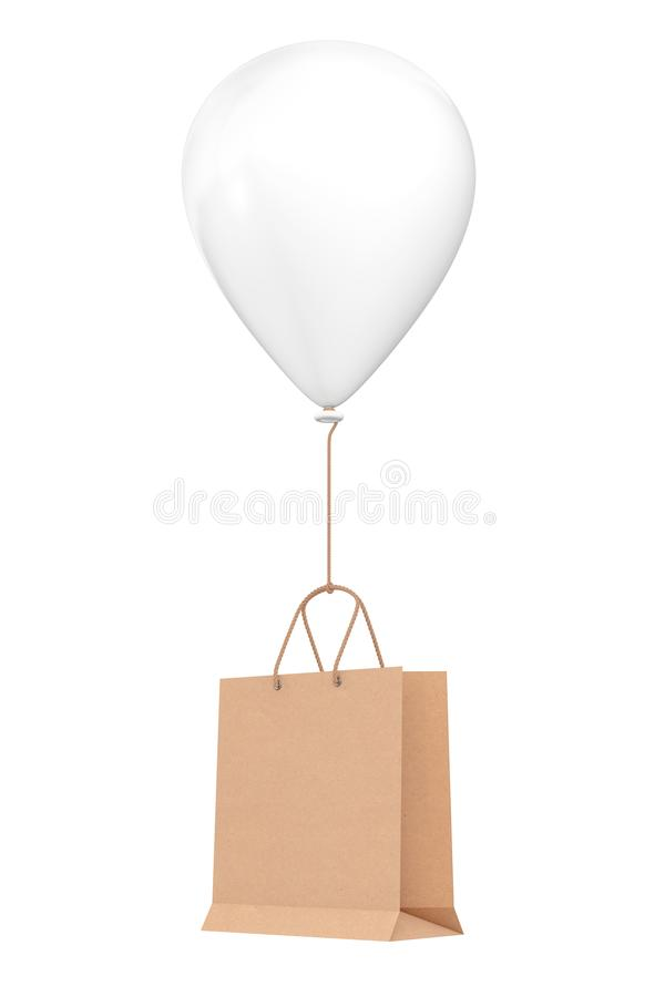 Brown Recycled Paper Shopping Bag Floating with White Hellium Balloon. 3d Rendering stock illustration