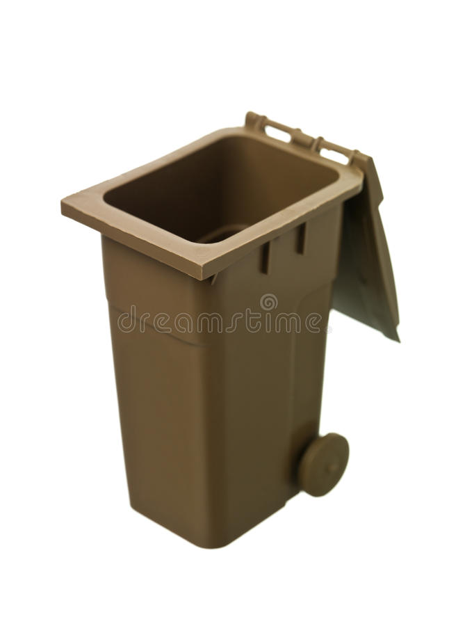 Brown Recycling Bin. Isolated on white background royalty free stock photos