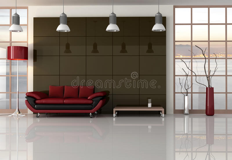 Brown red and black living room stock illustration for Red brown and black living room