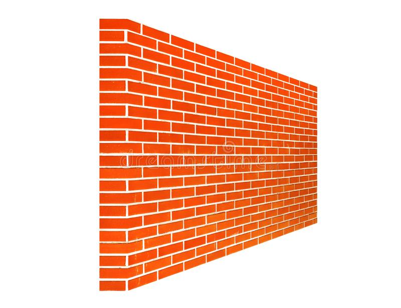 Brown and red brick wall texture background material of industry building construction on white background. For montage of your product stock illustration