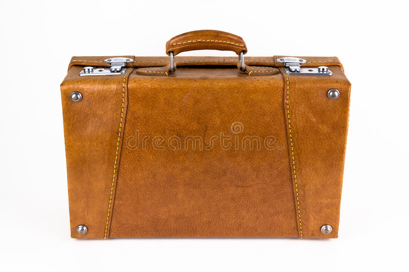 Brown retro suitcase. On a white background royalty free stock images