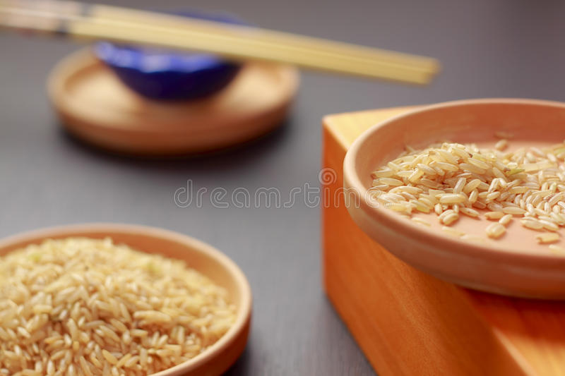 Brown rice on clay plates. Brown rice grains on clay plates with unfocused background. Focus on right plate stock images