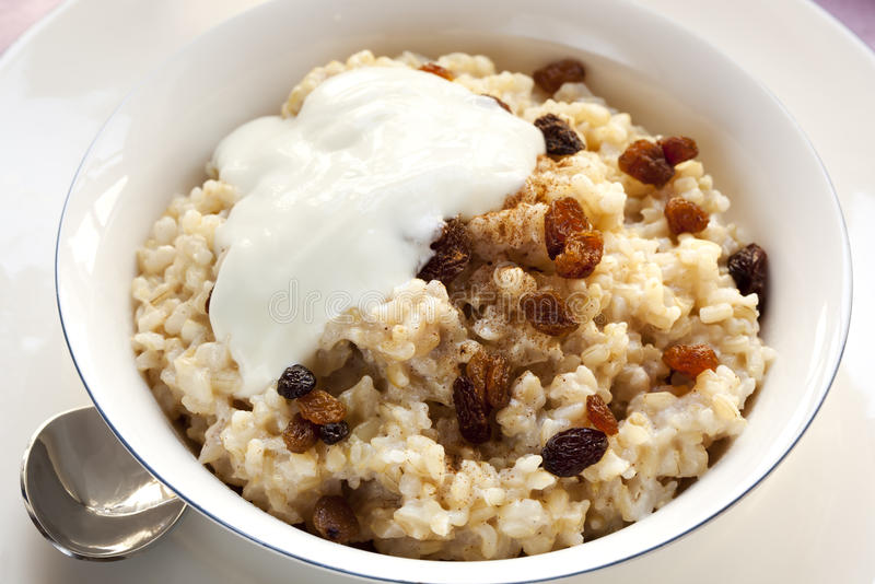Brown Rice Porridge with Sultanas stock photos