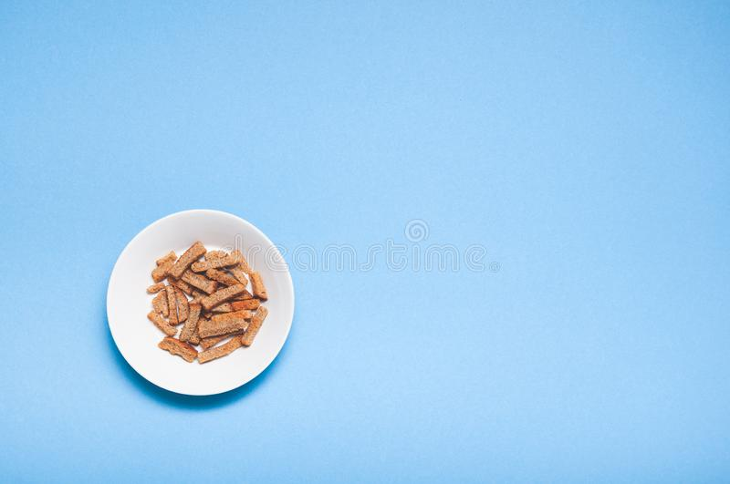 Brown roasted dry bread sticks croutons stock images