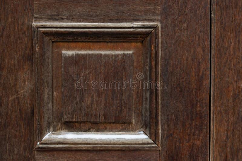 Brown rocznika drewniany drzwi zamknięty w górę Tło obrazy royalty free