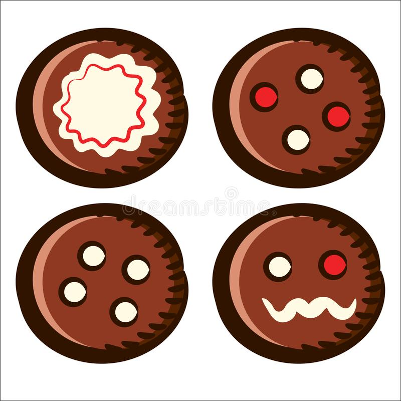 Brown Round Christmas Gingerbread Cookies royalty free illustration