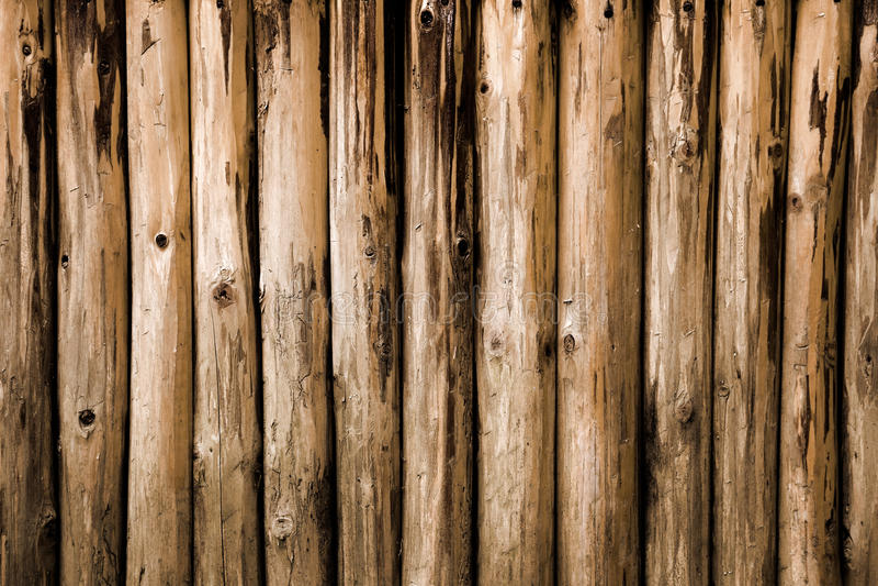 Brown round logs background. Wood texture,brown old round logs background royalty free stock image