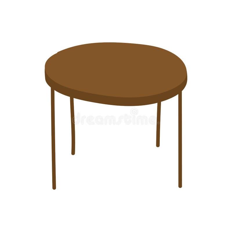 Brown round table furniture icon. Vector illustration stock illustration