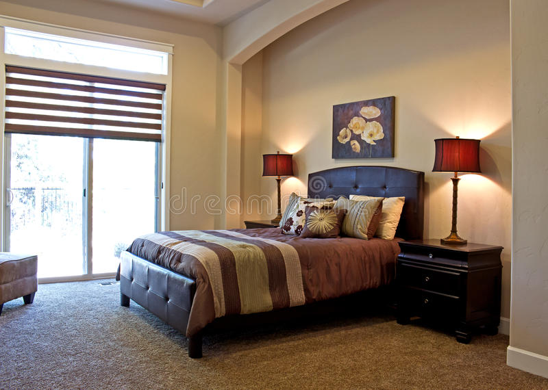 Brown and Rust Luxury Bedroom Decor stock image