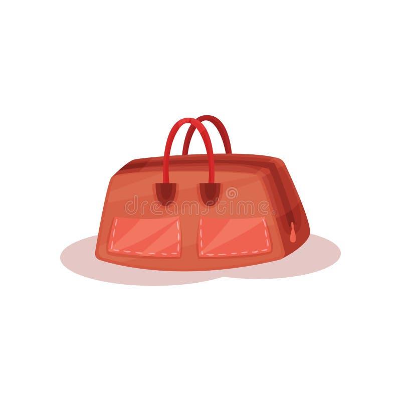 Brown rzemienna torebka dla niesie osobiste rzeczy Torba z małymi rękojeściami i kieszeniami Płaski wektorowy element dla promo p ilustracja wektor
