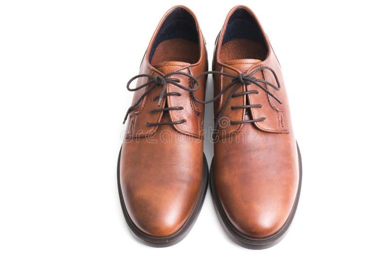 Brown rzemienni buty izolujący fotografia royalty free