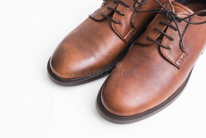 Brown rzemienni buty izolujący zdjęcie royalty free