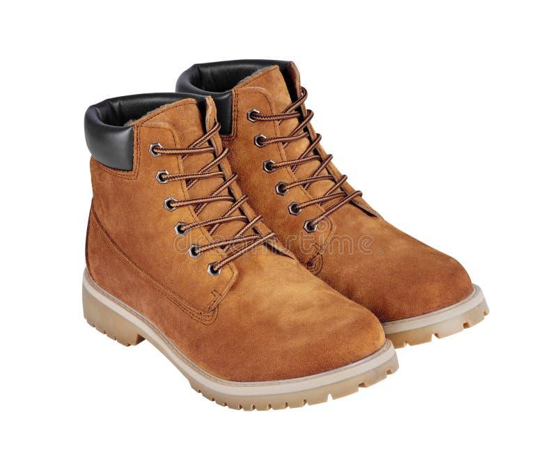 Brown rzemienni buty odizolowywający na białym tle z przycinać p fotografia stock