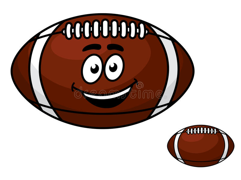 Brown rzemienny futbol z szczęśliwym uśmiechem royalty ilustracja