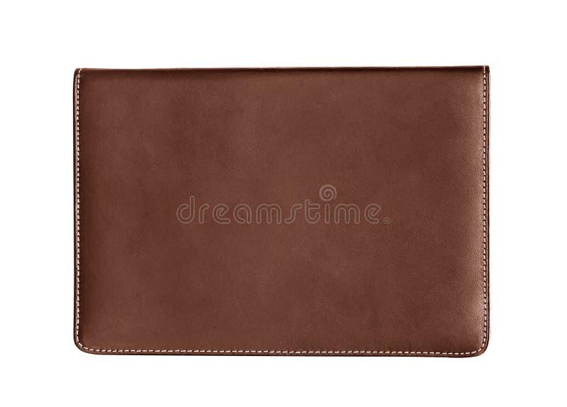 Brown rzemienny notatnik odizolowywający na białym tle obrazy stock