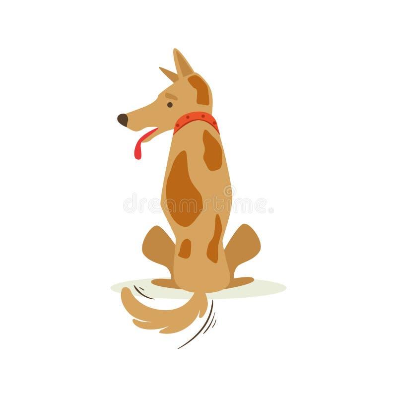 Brown-Schoßhund drehte sein hinteres Schmollen, Tiergefühl-Karikatur-Illustration vektor abbildung