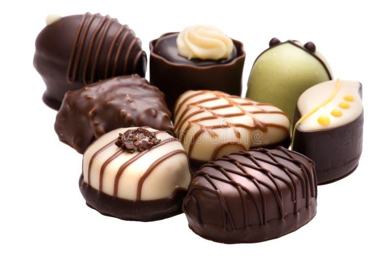 Brown-Schokoladensüßigkeit getrennt auf weißem Hintergrund stockfoto