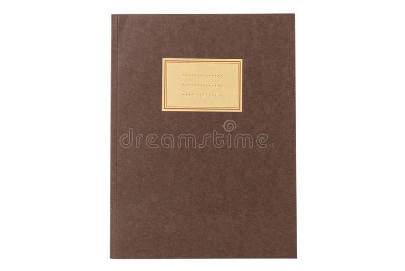 School notebook old fashioned isolated on white background, blank label, copy space, top view. Brown school notebook or diary, old fashioned, isolated on white royalty free stock image