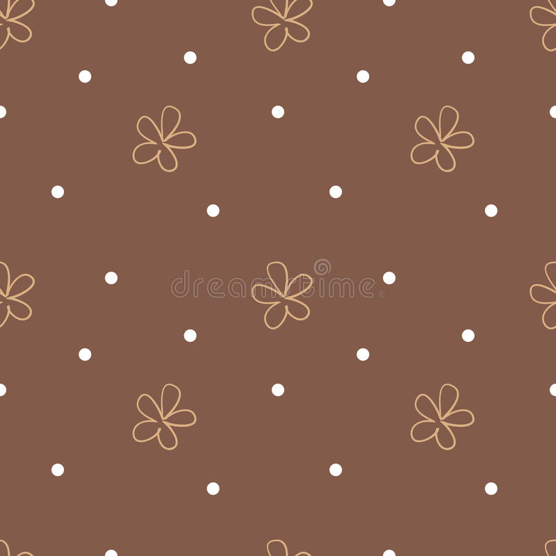 Brown seamless background with beige flowers and white dots. Cute floral pattern. Vector vector illustration
