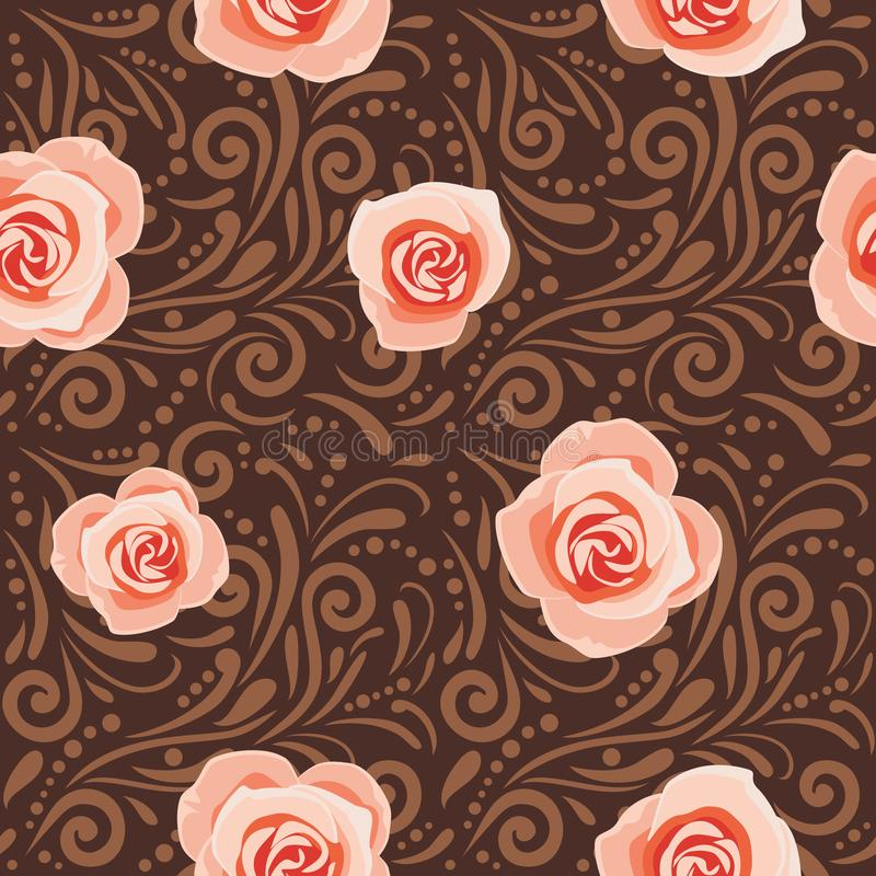 Brown seamless decorative pattern with pink roses royalty free stock images