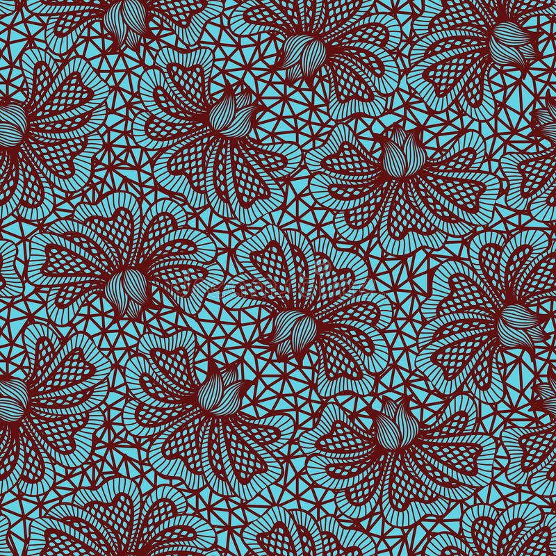 Brown seamless flower lace pattern vector illustration