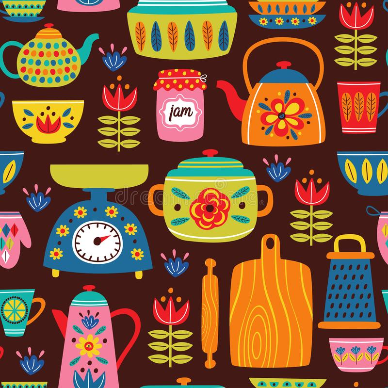 Brown seamless pattern with vintage kitchen stock illustration